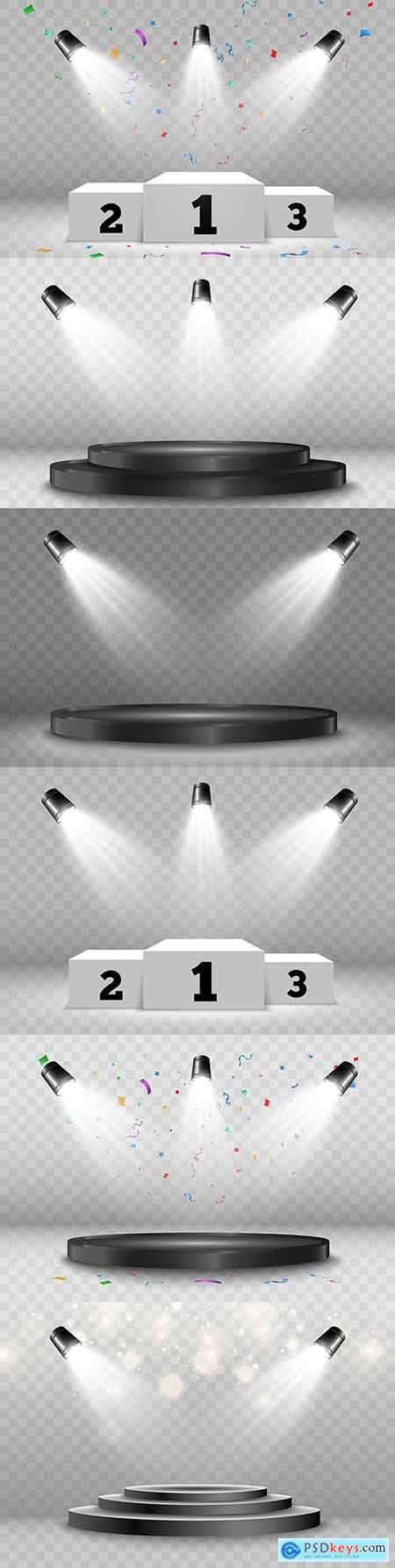 Podium illuminated with spotlights on transparent background