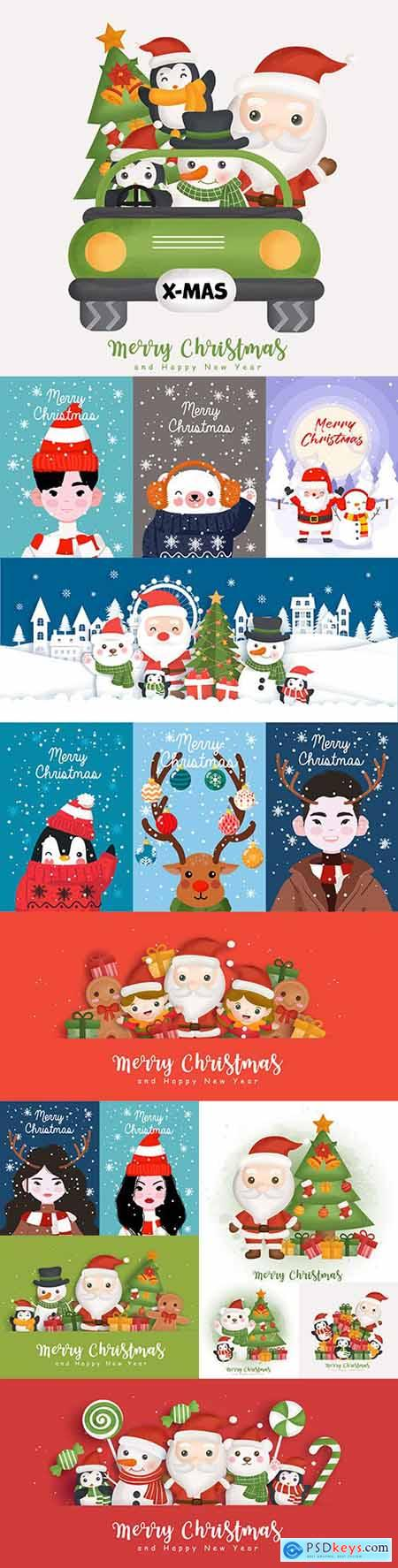 Merry Christmas Santa Claus elements and themed painted flat illustrations
