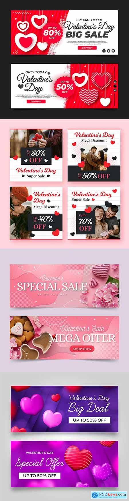 Valentines Day holiday sales design template banners