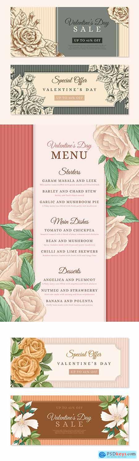 Valentines Day vintage banner and menu design template