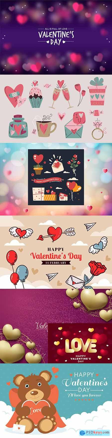 Valentines Day design background and elements collection