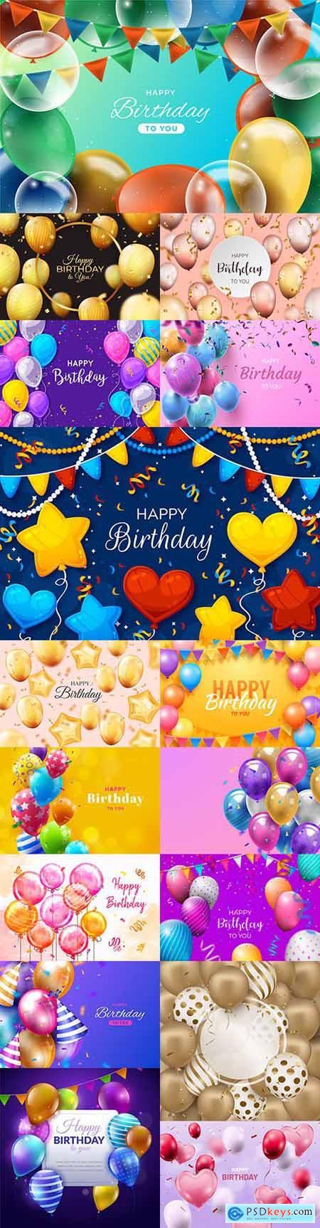 Happy birthday holiday invitation realistic balloons 18