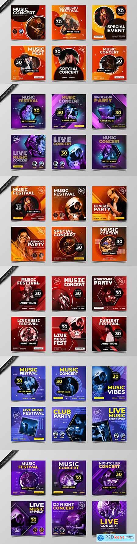 Music nightclub and live concert design template