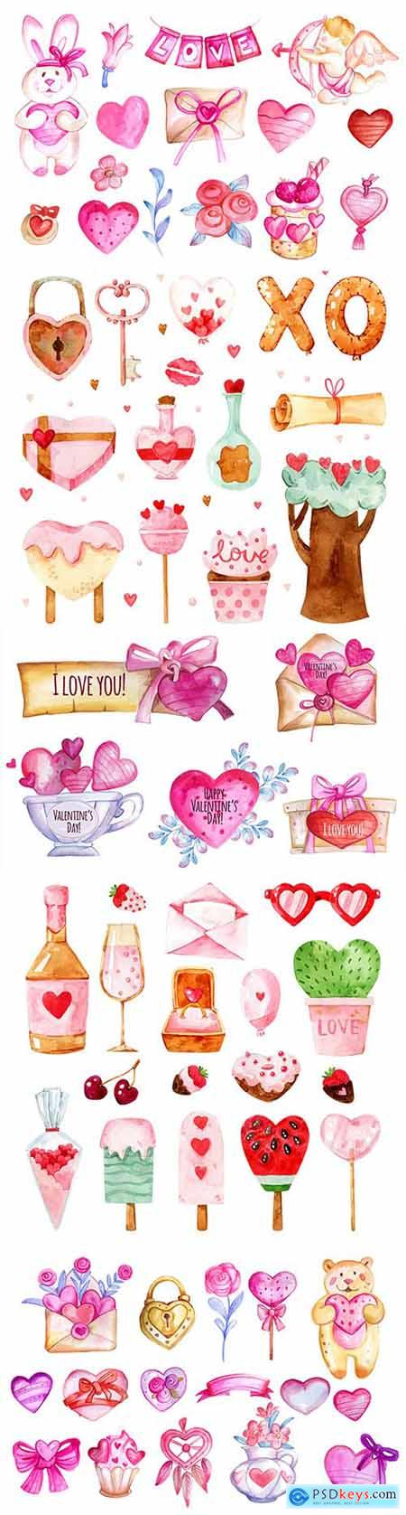 Valentines Day design collection of watercolor elements