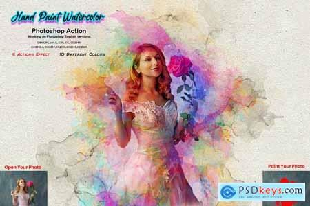 Hand Paint Watercolor Photoshop Action 5628157