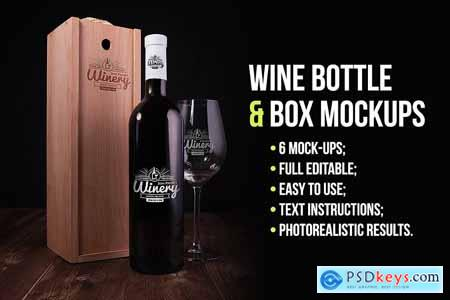 Wine Bottle and Box Mockups 5536840