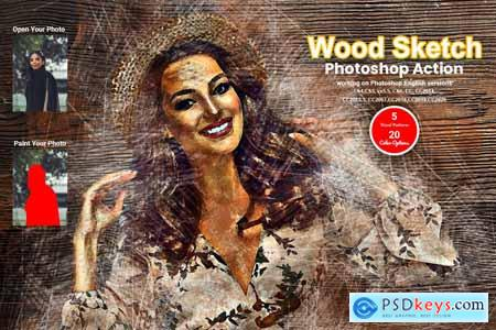 Wood Sketch Photoshop Action 5631877
