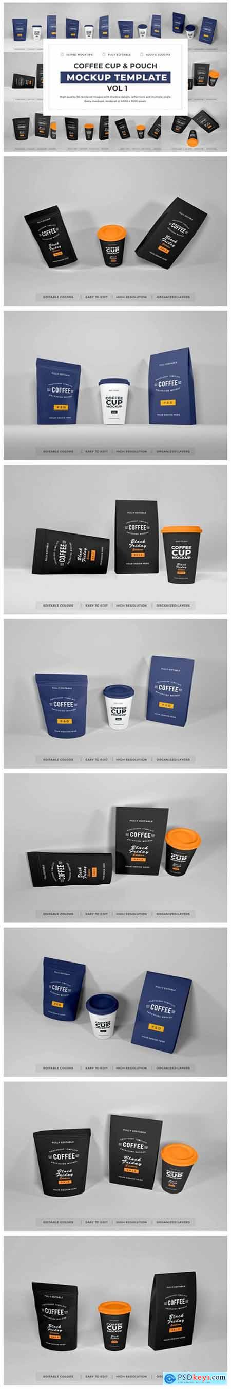 Coffee Cup and Pouch Mockup Bundle Vol 1 6704186