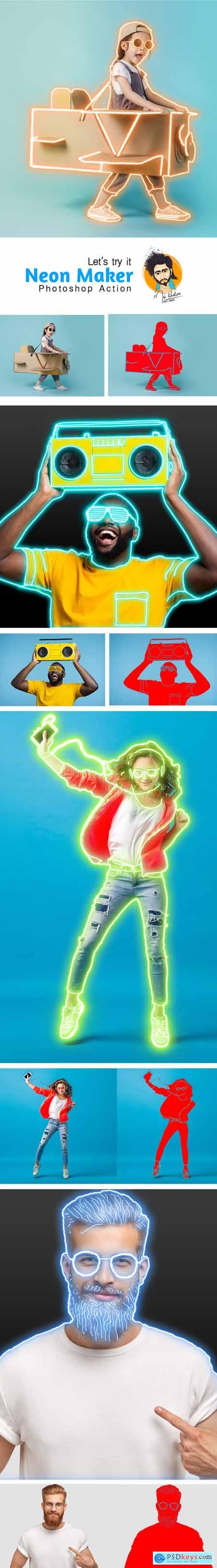 Neon Maker Photoshop Action 29732242