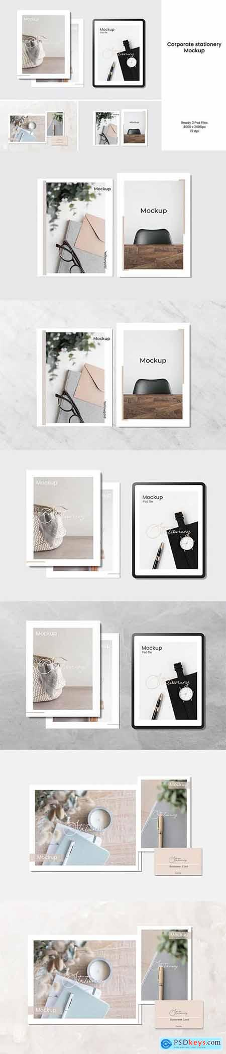 Corporate Stationery and Tablet Mockup