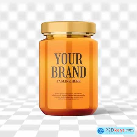 Glass honey jar bottle mockup