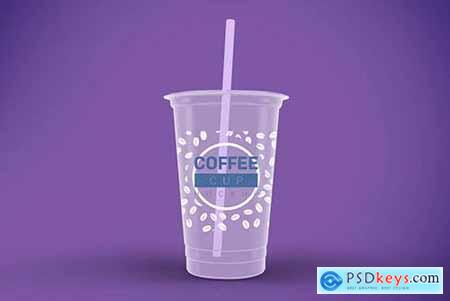 Transparent Plastic Cup Mockup
