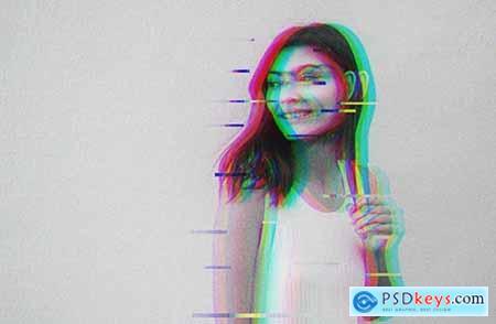 Retro Glitch Photo Effect Mockup