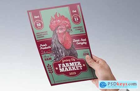 Traditional Art Rooster Farmer Market Flyer