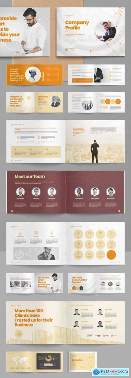 Company Profile Brochure Layout with Abstract Low Poly Line Elements 399838768