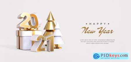 Happy new year 2021 with 3d objects