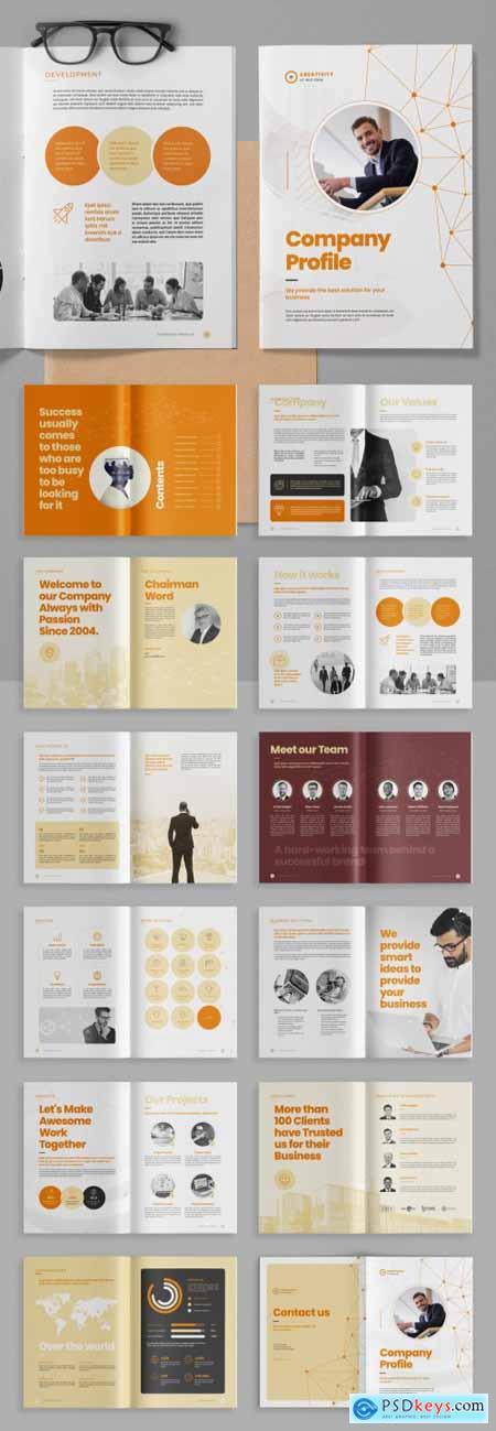 Company Profile Brochure Layout with Abstract Low Poly Line Elements 399838716