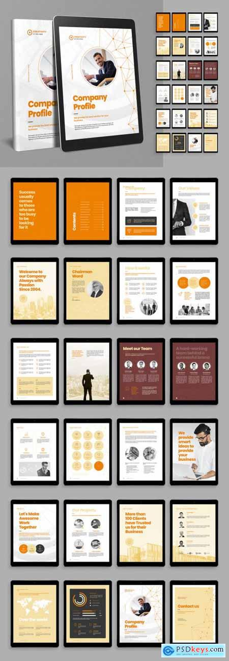 Digital Company Profile Brochure Layout with Abstract Connections Poly Line Elements 399838764