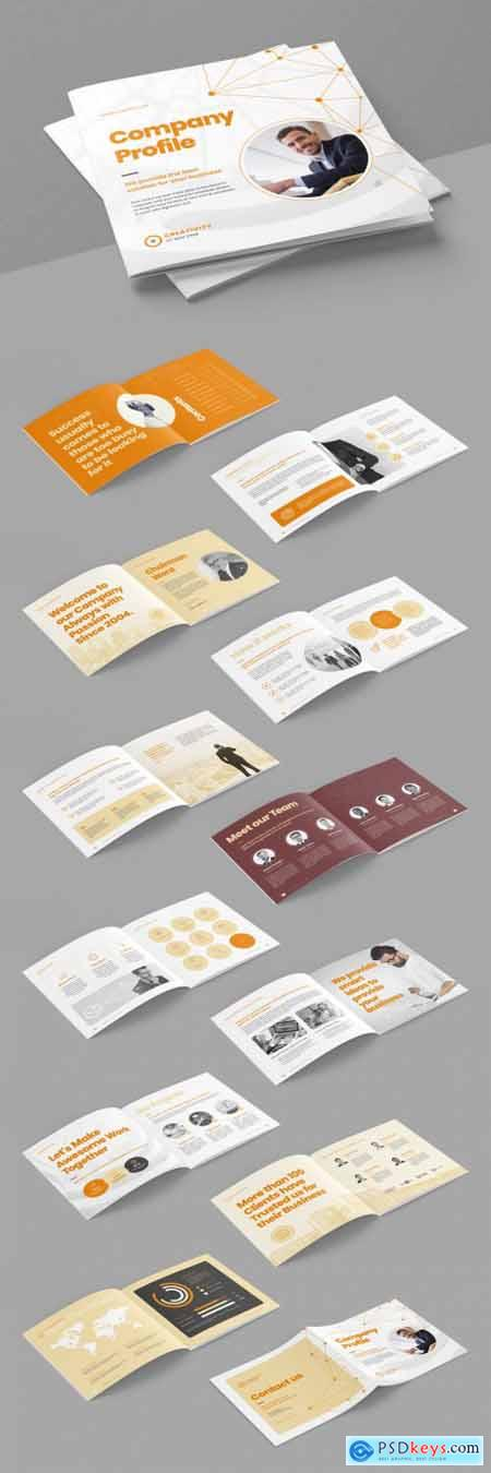 Company Profile Brochure Layout with Abstract Low Poly Line Elements 399838725