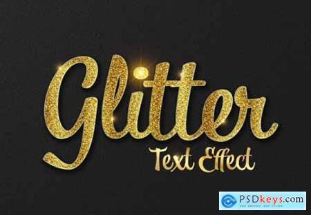 Glitter text effect with gold letters mockup