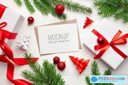 Greeting card mockup with christmas decorations