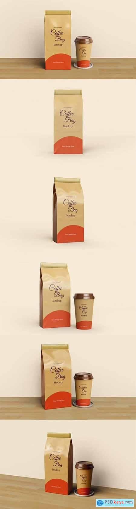 Coffee bag and coffee cup packaging mockup
