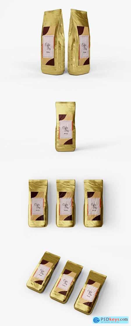Glossy coffee bag mockup