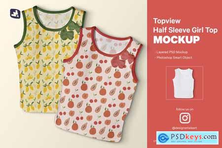 Topview Half Sleeve Girl Top Mockup 5162087