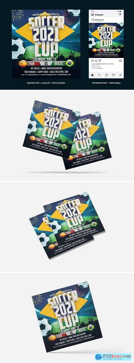 Soccer Cup Square Flyer & Insta Post