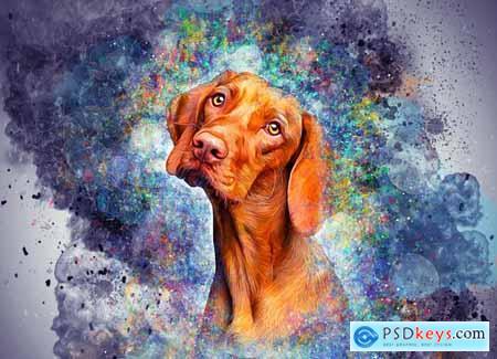 Colored Pet Portrait PS Action 5635740
