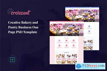 Croissant - Pastry Business One Page PSD Template