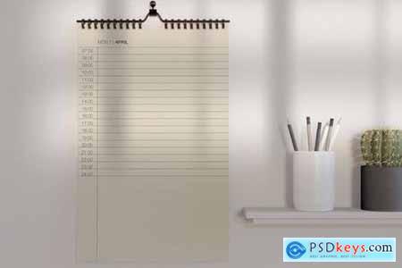 Desk with Calendar Mockup E2646YS