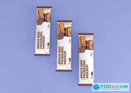 Realistic chocolate snack bar packaging mockup
