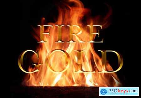 Old gold text effect burning in fire mockup