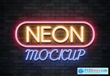 Neon sign text effect on brick wall mockup
