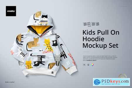 Kids Pull On Hoodie Mockup Set 5499299