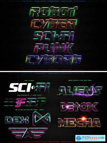Futuristic Text Effects - Photoshop PSD