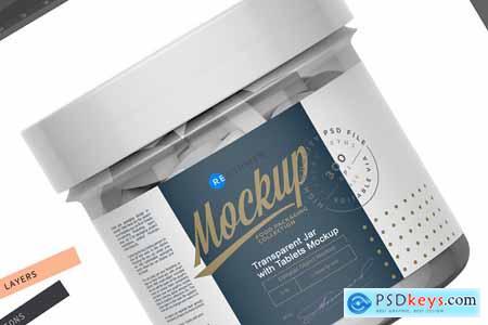 Transparent Jar with Tablets Mockup 5612998