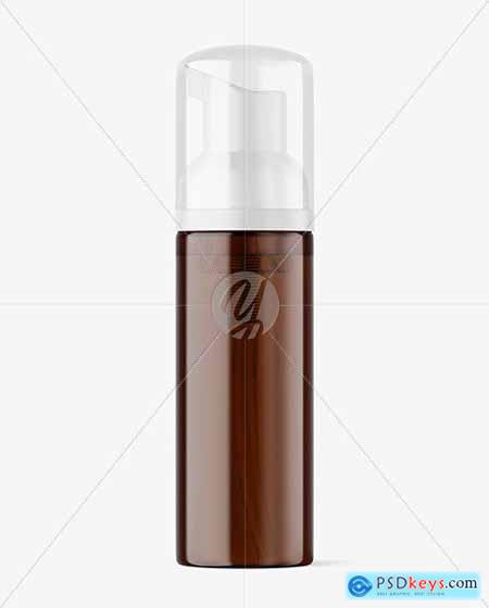 Amber Cosmetic Bottle with Pump Mockup 73100