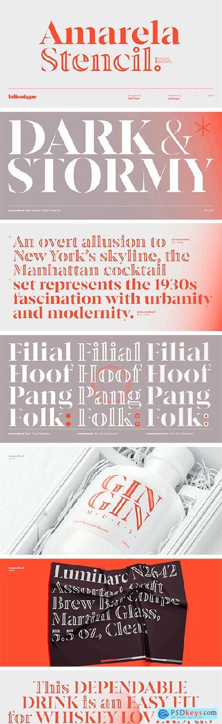 Amarela Stencil Font Family
