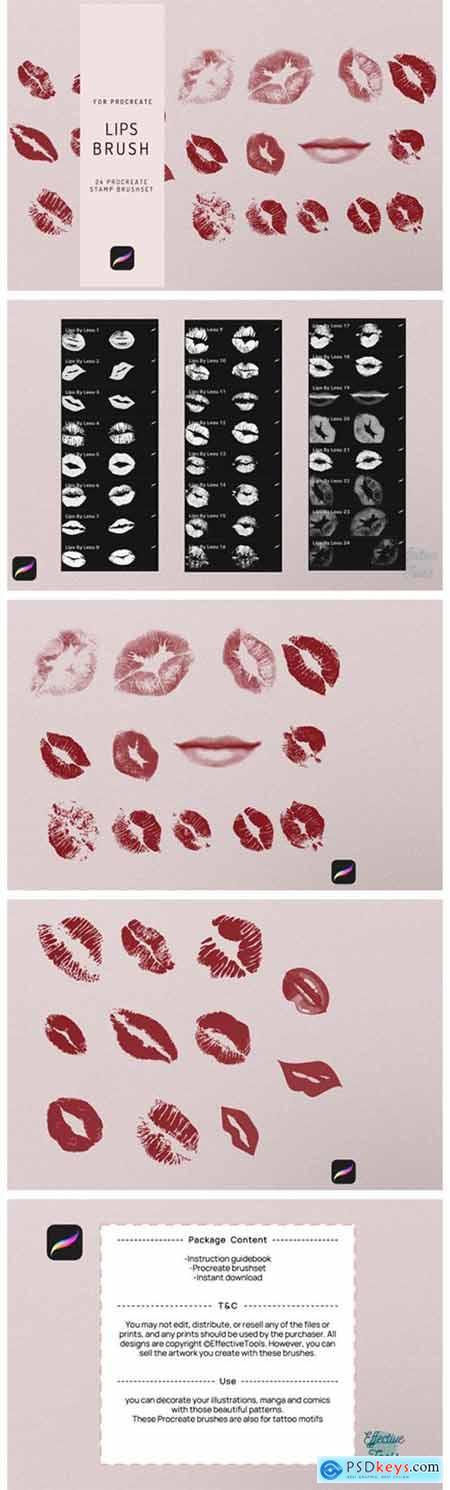 24 Procreate Lips Stamp Brush 7720783
