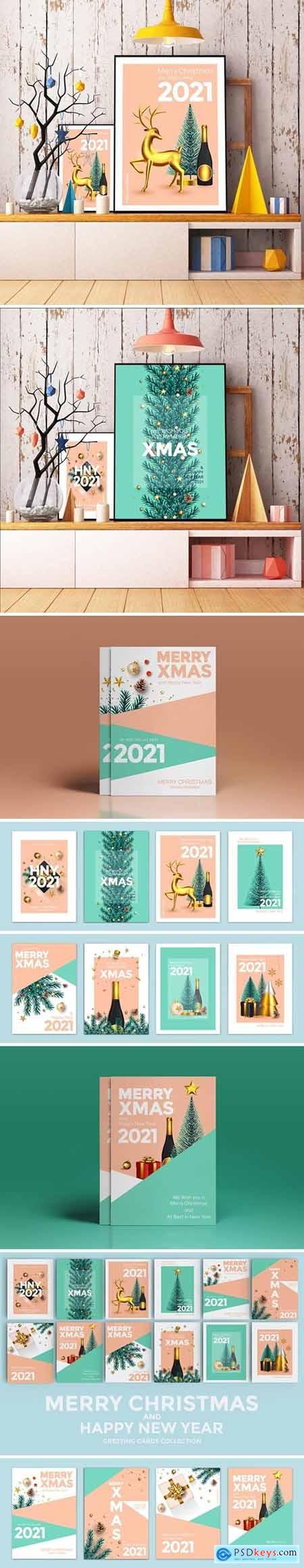 Set of 12 Christmas and Happy New Year cards