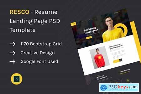 Resco - Resume Landing Page PSD Template