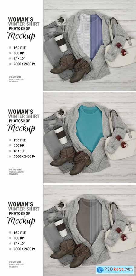 Winter Womans T-Shirt Mockup Flatlay