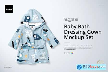 Baby Bath Dressing Gown Mockup Set 4317506