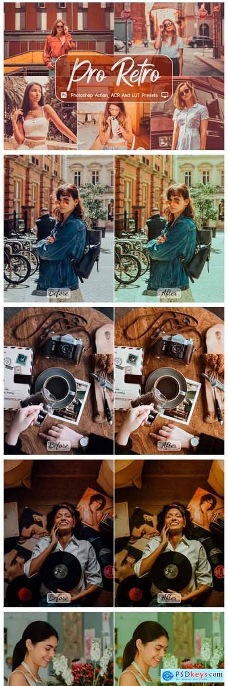 10 Pro Retro Photoshop Actions, ACR, LUT 7774123