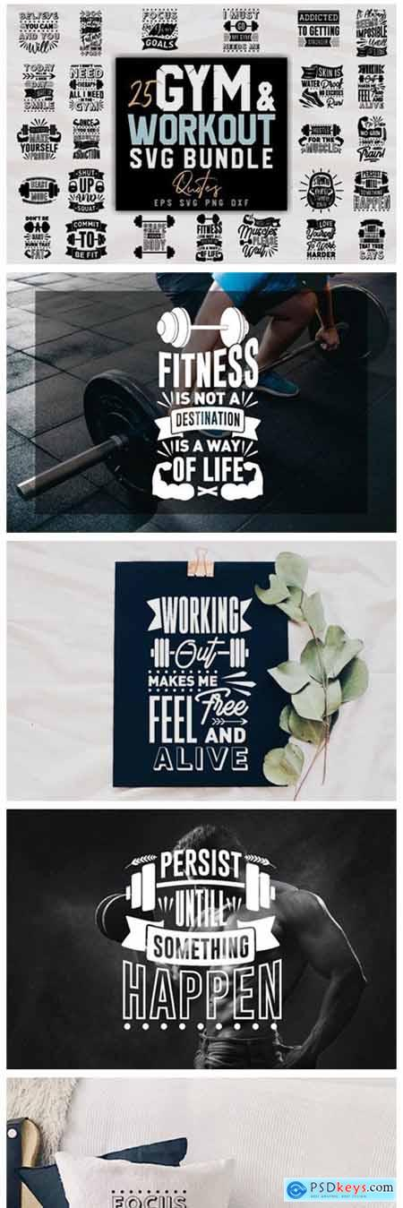 Gym and Workout SVG Bundle Quotes 7766353