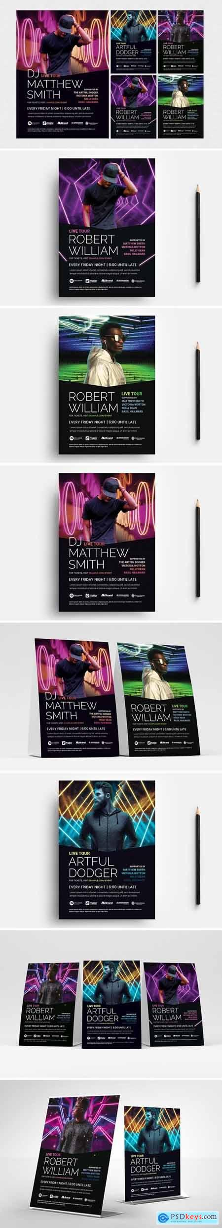 Neon DJ Flyer Templates