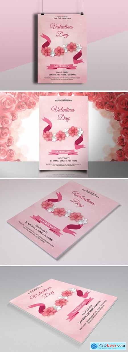 Valentines Day Party Flyer Template 7874369