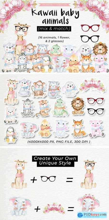 Baby Animal Cute Watercolor Illustration
